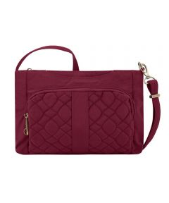 Anti-Theft Signature Quilted E/W Slim Bag with RFID Protection, Ruby