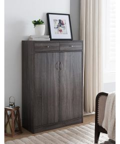 Shoe Cabinet with Doors / 2 Drawers / 5 Shelves, Distressed Gray