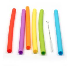 10 in. Reusable Silicone SMOOTHIE Straws, Set of 6 in Assorted Colors