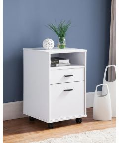 2-Drawer File Cabinet with Wheels, White