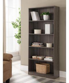 5-Shelf Bookcase, Gray