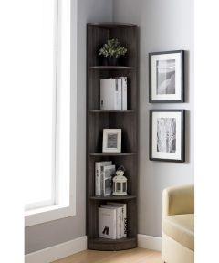 5-Shelf Corner Bookcase, Gray