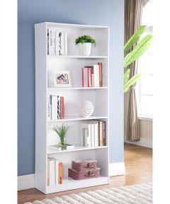 5-Shelf Bookcase, White