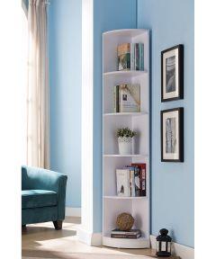 5-Shelf Corner Bookcase, white