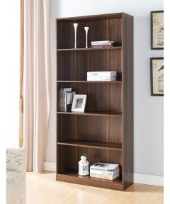 5-Shelf Bookcase, Dark Walnut