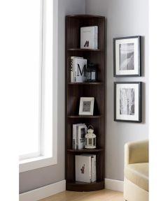 5-Shelf Corner Bookcase, Dark Walnut