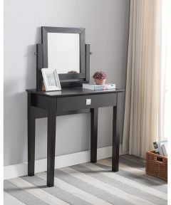 Vanity Table with Mirror, Espresso Finish