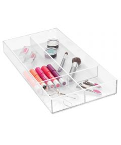 Clarity Plastic Divided Storage Drawer Organizer, 8 in. x 16 in. x 2 in., Clear