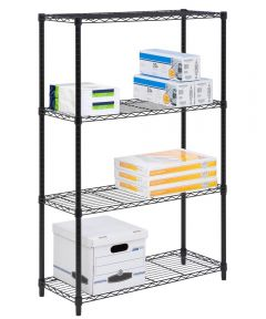 4-Tier Black Shelf Unit, 14x36x54 Inches