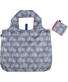 Bike Grey Blu Bag Reusable Shopping Bag with Storage Pouch