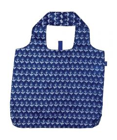 Anchor Navy Blu Bag Reusable Shopping Bag with Storage Pouch
