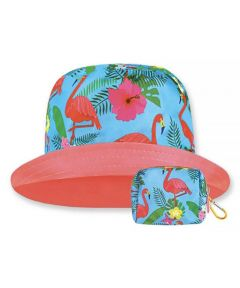 Floppy Top Little Sun/Rain Kids Hat with 50+ UV Protection, Flamingo Design