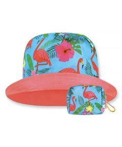 Floppy Top Little Sun/Rain Kids Hat with 50+ UV Protection, Flamingo Design