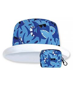 Floppy Top Little Sun/Rain Kids Hat with 50+ UV Protection, Shark Design