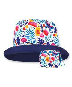 Floppy Top Little Sun/Rain Kids Hat with 50+ UV Protection, Tropical Design