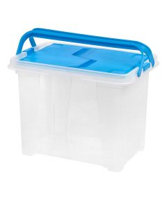 Letter Size Portable Wing Lid File Box with Handles, Blue/Clear
