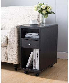 Chairside End Table with Storage Drawer, Espresso