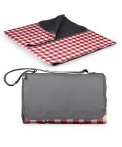 Outdoor Foldable Blanket Tote, Red Check Design