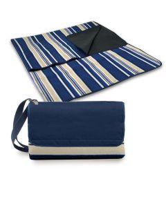 Outdoor Foldable Blanket Tote, Blue Stripes Design