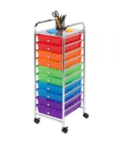 10-Drawer Multi-Color Rolling Cart, Rainbow