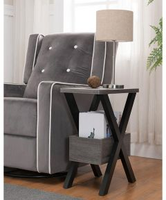 Chairside Table with Storage Bin, Black/Distressed Gray