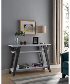 Sofa Table, White/Distressed Gray
