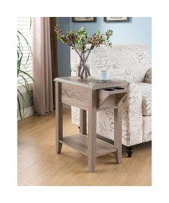 Chairside End Table with Drawer & Cupholder, Whitewash