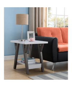 2-Tier End Table, White & Gray