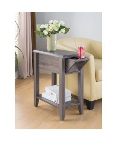 Chairside End Table with Drawer & Cupholder, Distressed Gray
