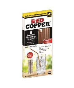 Red Copper 8 Reusable Drinking Straws with Cleaning Brush