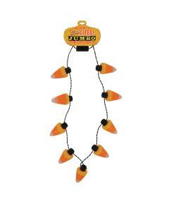 Jumbo Flashing Halloween Necklace, Candy Corn