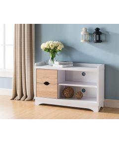 Entryway Shoe Cabinet with Drawers & Shelves, White