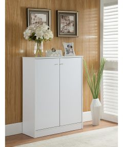 Shoe Cabinet with Doors & 5 Shelves White