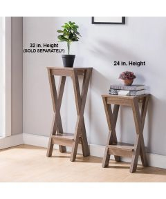 24 in. Tall Display Stand with Bottom Shelf, Hazelnut
