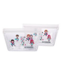 ZIPTUCK KIDS Reusable Snack Bags, Girl Heroes