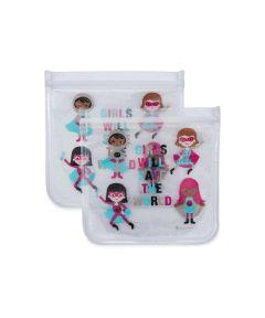 ZIPTUCK KIDS Reusable Sandwich Bags, Girl Heroes