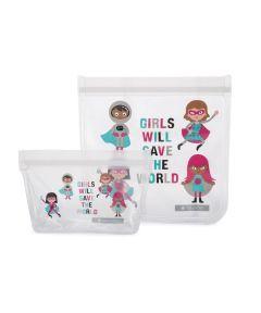 ZIPTUCK KIDS Reusable Lunch Bags, Girl Heroes