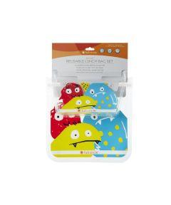 ZIPTUCK KIDS Reusable Lunch Bags, Monster