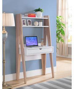 33.5 in. Wide Ladder Desk with Drawer & 2 Shelves, White & Natural