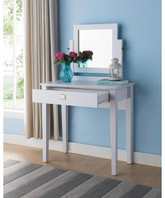 Vanity Dressing Table with Mirror, White