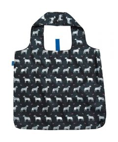 Dogs Black Blu Bag Reusable Shopping Bag with Storage Pouch
