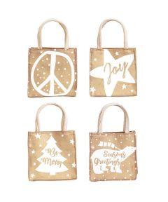 Season's Sayings Metallic Medium Itsy Bitsy Burlap Gift Bags, Assorted