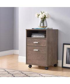 2-Drawer File Cabinet with Wheels, Walnut Oak