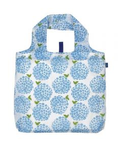 Hydrangea Blue Blu Bag Reusable Shopping Bag with Storage Pouch