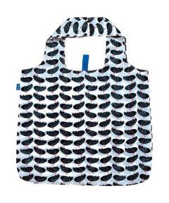 Highland Bird Black Blu Bag Reusable Shopping Bag with Storage Pouch