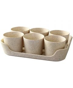 Simple Eco-Planter Herb Pot with Tray Set of 6, Sand Beige