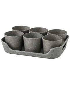 Simple Eco-Planter Herb Pot with Tray Set of 6, Black