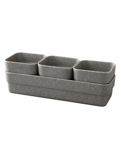Simple Eco-Planter Herb Pot with Tray Set of 3, Black