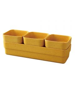 Simple Eco-Planter Herb Pot with Tray Set of 3, Yellow