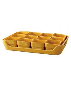 Simple Eco-Planter Herb Pot with Tray Set of 12, Yellow
